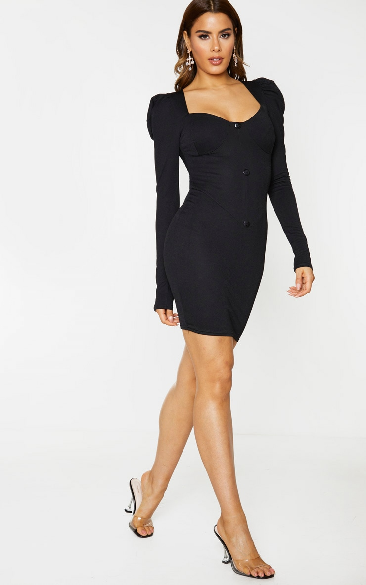 Tall Black Button Front Puff Shoulder Bodycon Dress 3