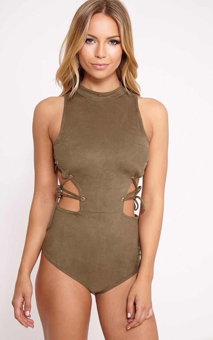 Celese Khaki Faux Suede Lace Side Bodysuit 4