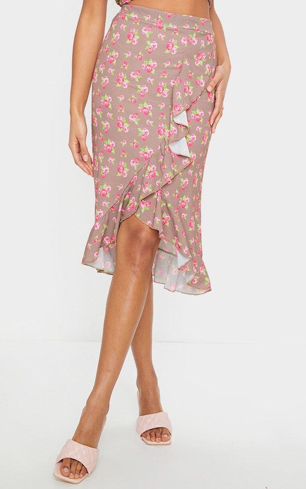 Brown Floral Printed Frill Wrap Over Midi Skirt 2