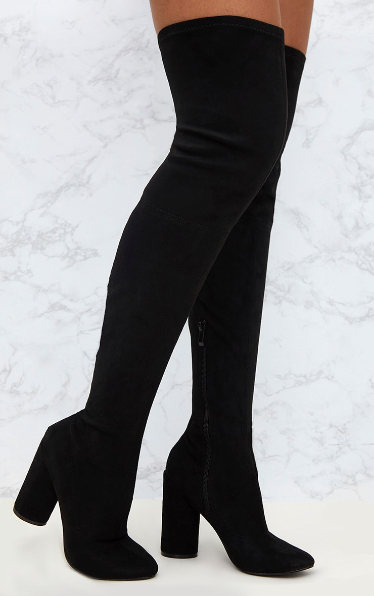 Black Faux Suede Thigh High Round Heeled Boots  1
