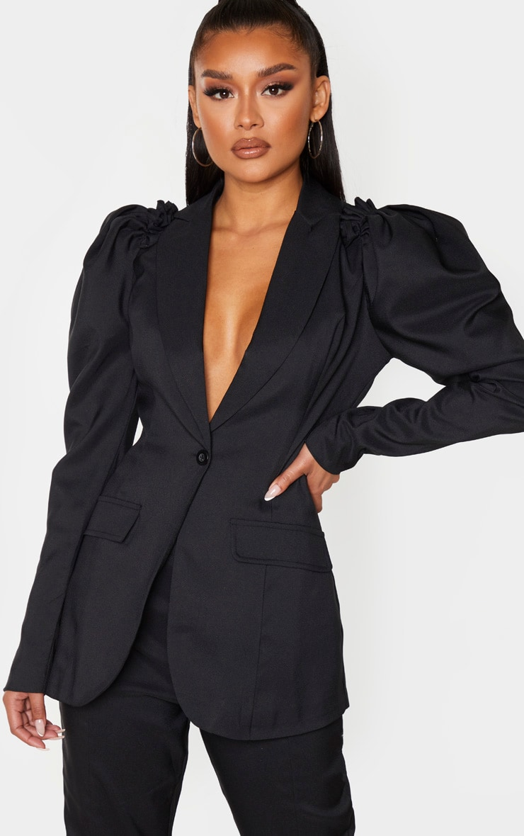 Black Woven Puff Sleeve Fitted Blazer 1