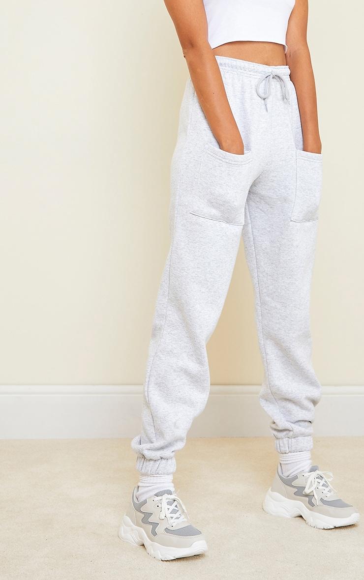 Jogging casual gris cendré clair à poches sur les cuisses 2