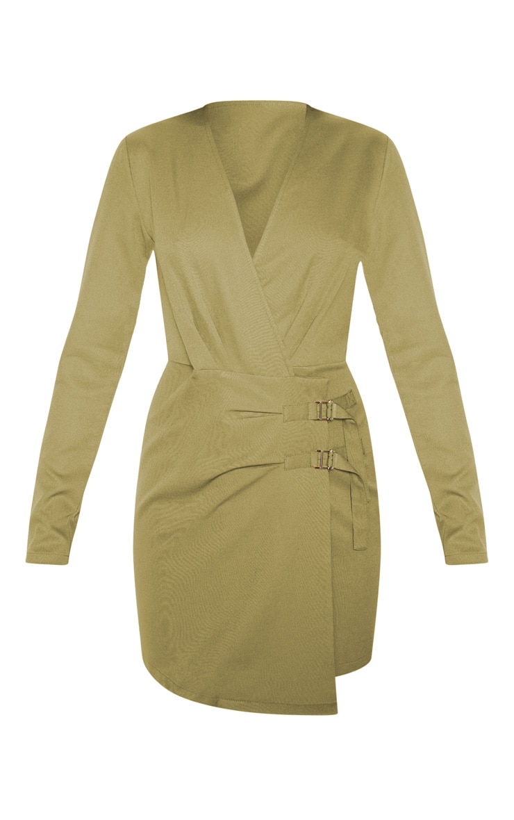 Khaki Buckle Detail Wrap Bodycon Dress 3