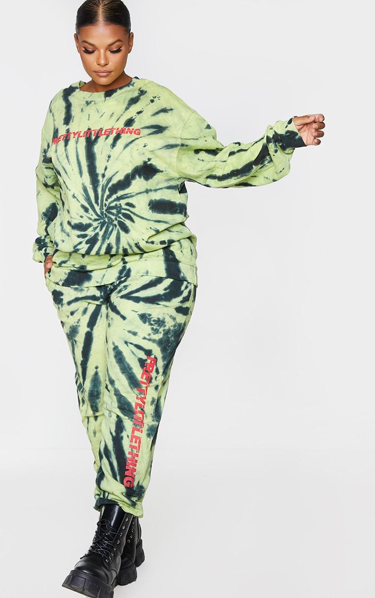 PRETTYLITTLETHING Plus Green Tie Dye Logo Joggers 1
