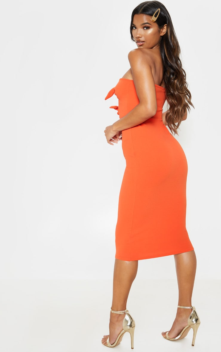 Bright Orange Tie Front Frill Hem Midi Dress 2