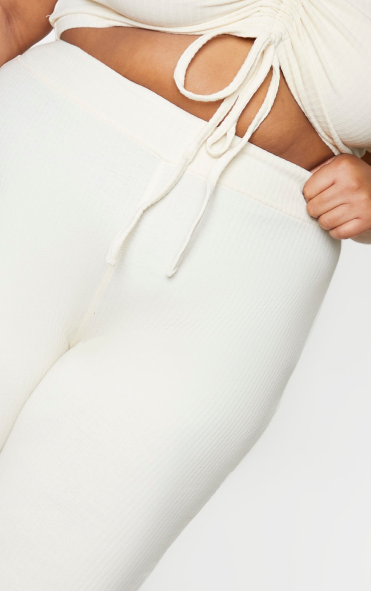 Plus Cream Thick Rib Leggings 4