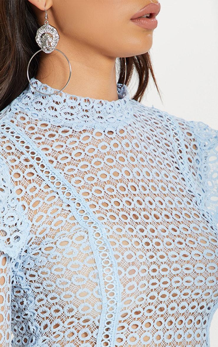 Dusty Blue Crochet High Neck Blouse  4