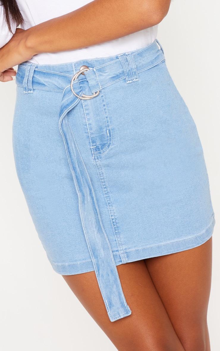 Light Wash O-Ring Detail Denim Mini Skirt 5