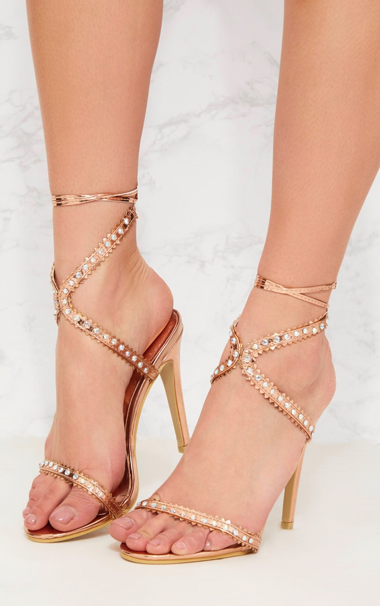 Rose Gold Diamante Cross Front Sandal 2