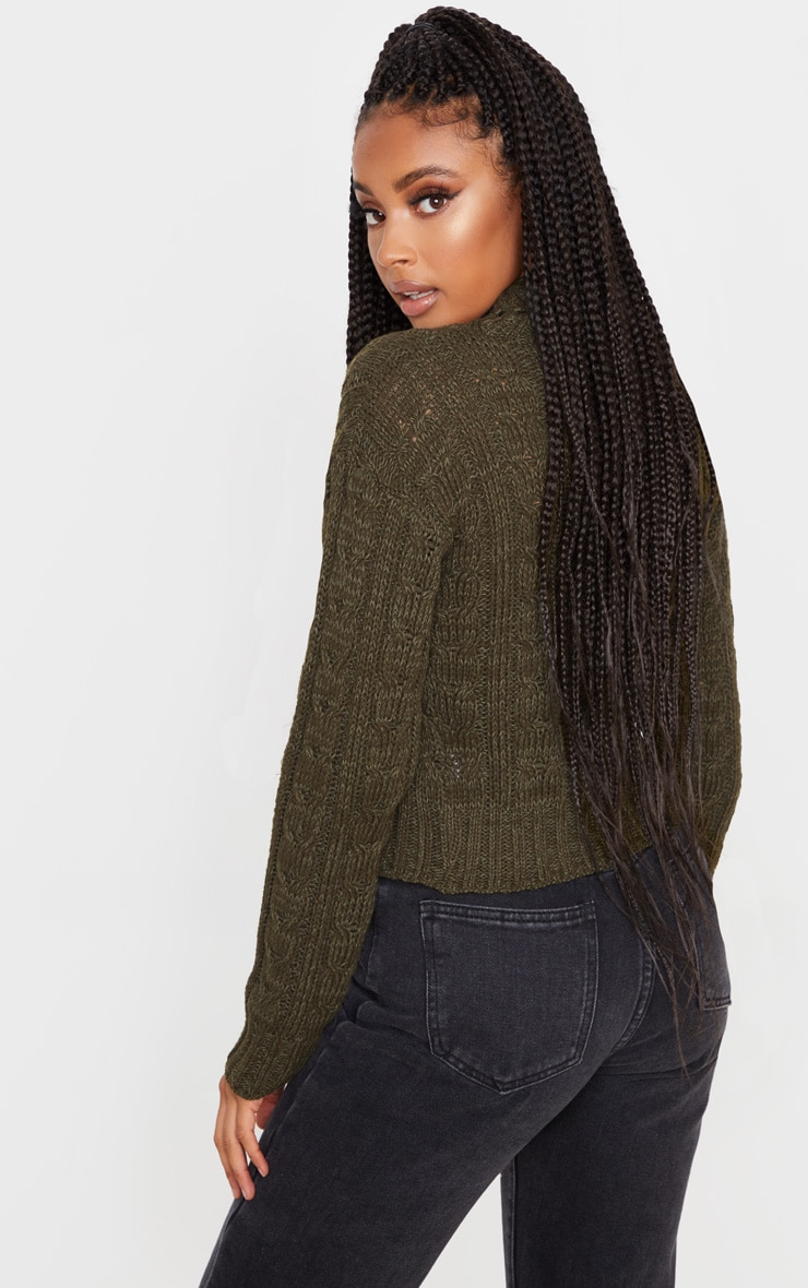 Khaki All Over Cable Knit Roll Neck Crop Sweater 2