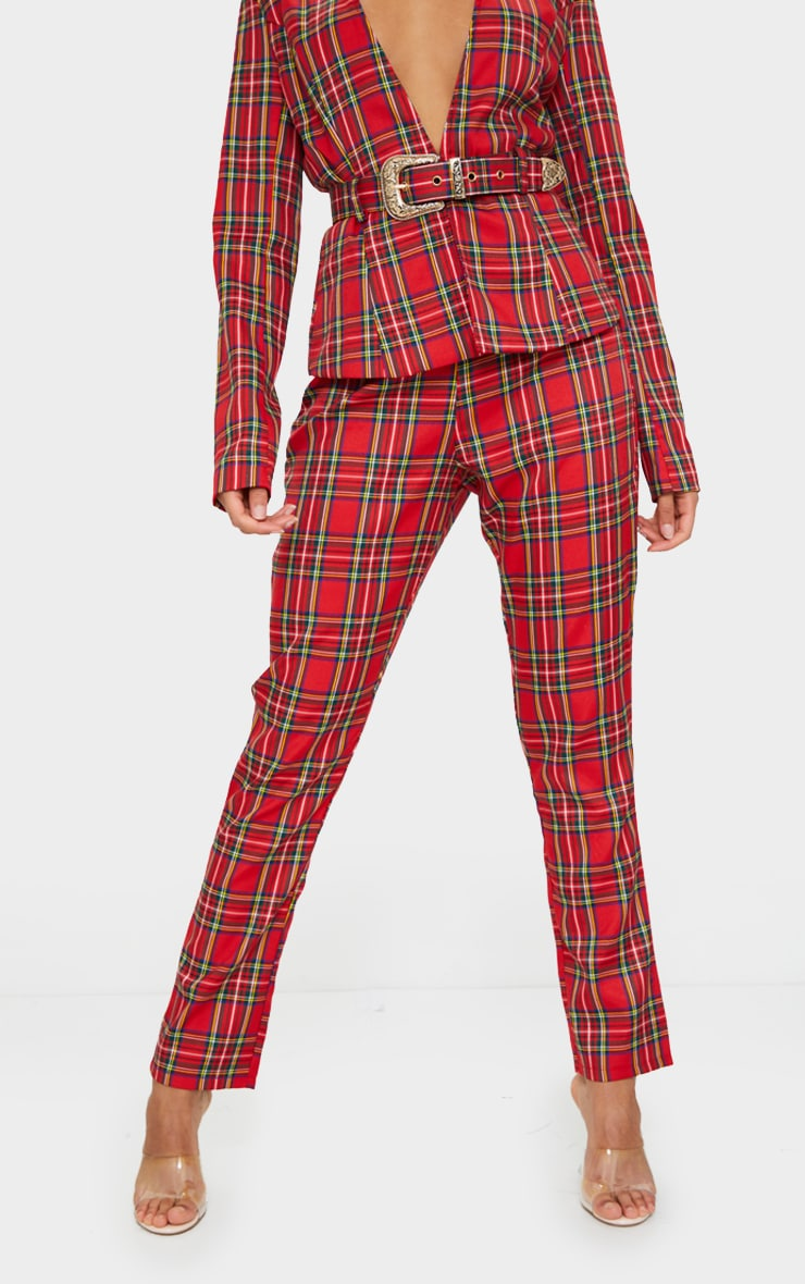 Red Tartan Printed Buckle Belted High Waisted Cigarette Pants 2