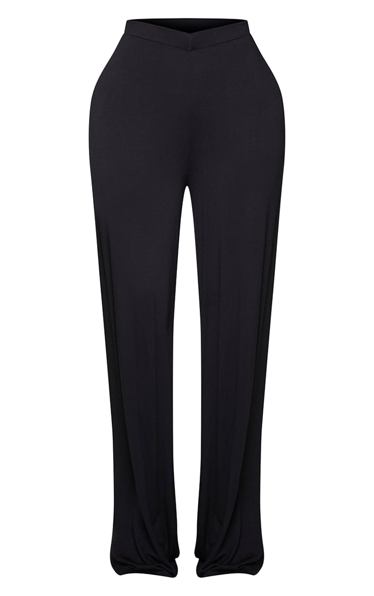 Shape Black Jersey V Front Wide Leg Trousers 5