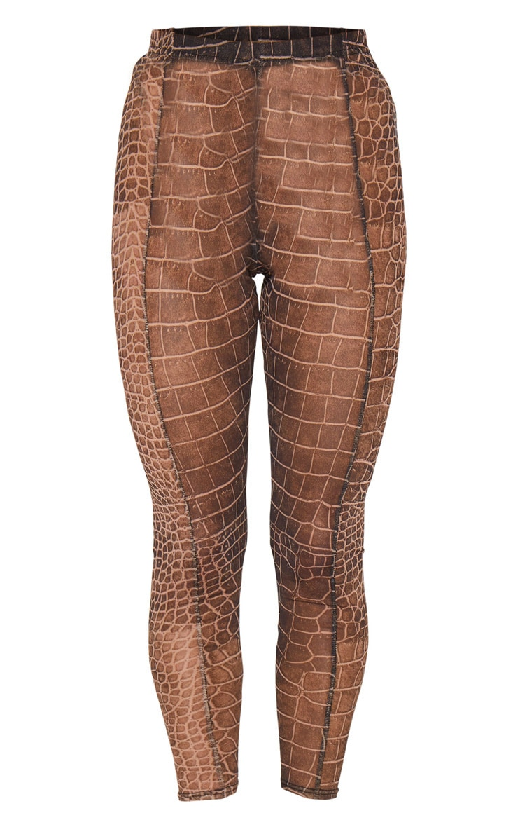 Brown Croc Mesh Seam Detail Legging 5