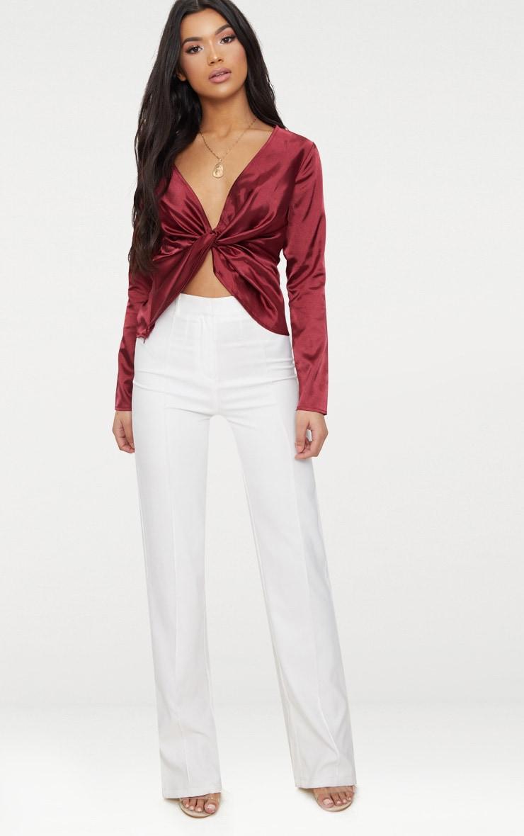 Burgundy Satin Twist Front Long Sleeve Blouse 4