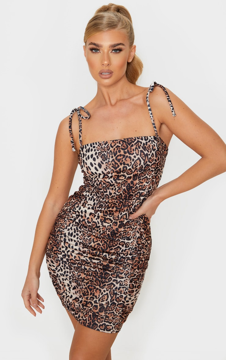 Tan Leopard Print Tie Strap Ruched Bodycon Dress 1