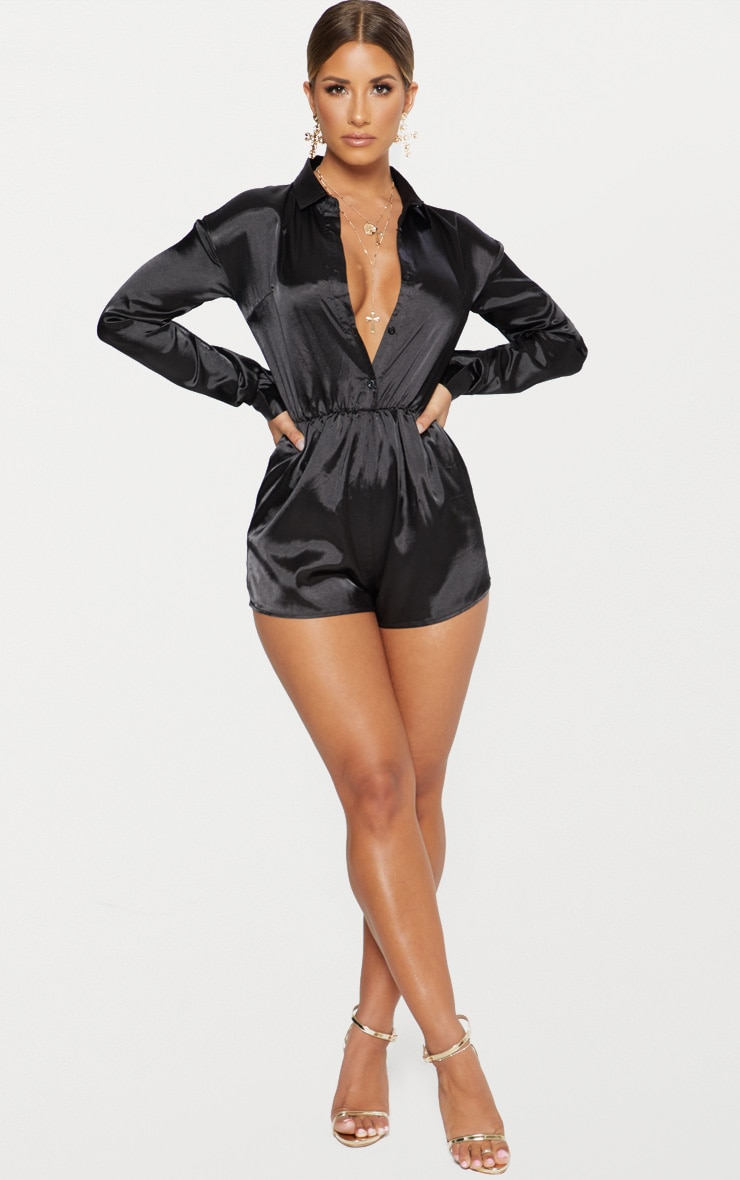 Black Satin Shirt Romper 4