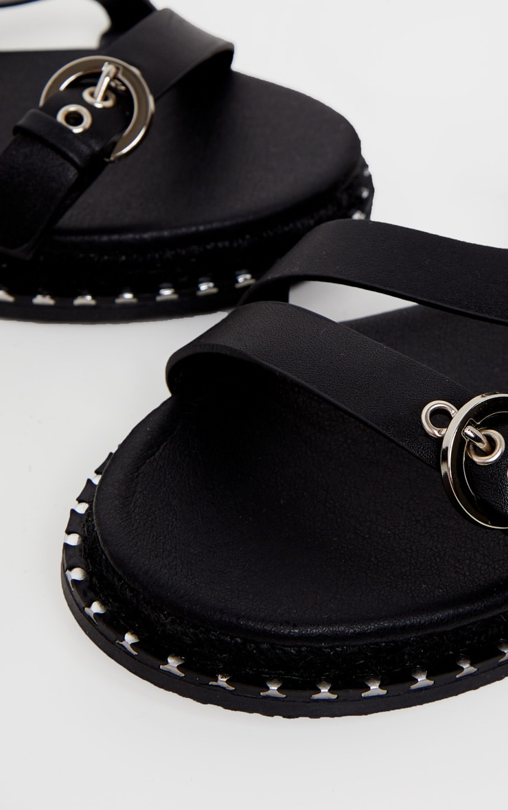 Black Chunky Sole Strappy Sandal 4