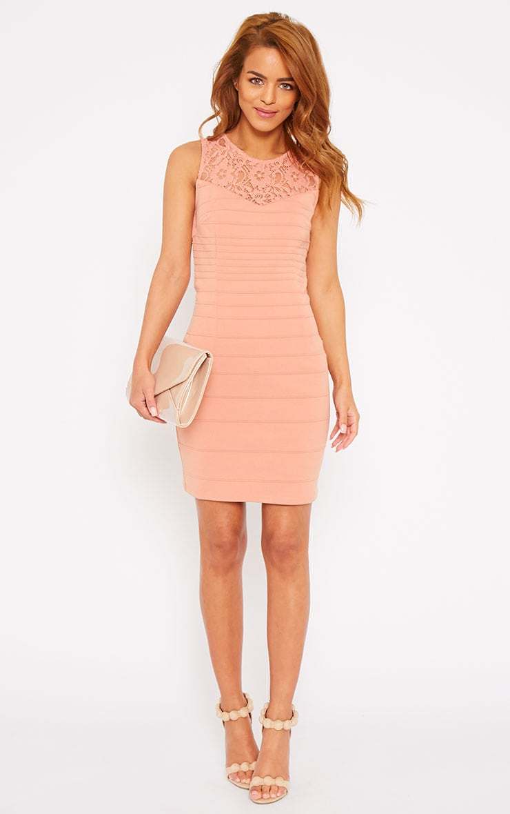 Primrose Peach Lace Top Bandage Dress 3