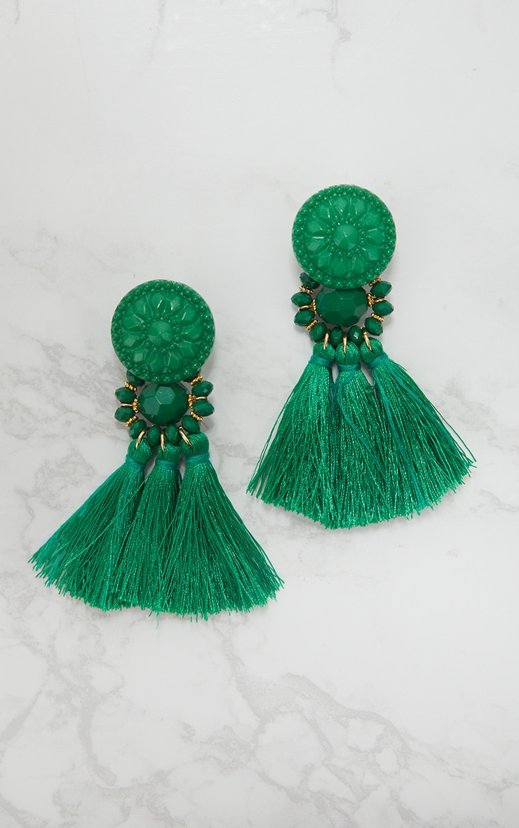 Bright Green Acrylic Bead Tassel Earrings 3