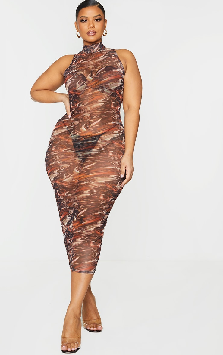 Plus Brown Abstract Print Mesh Midaxi Dress