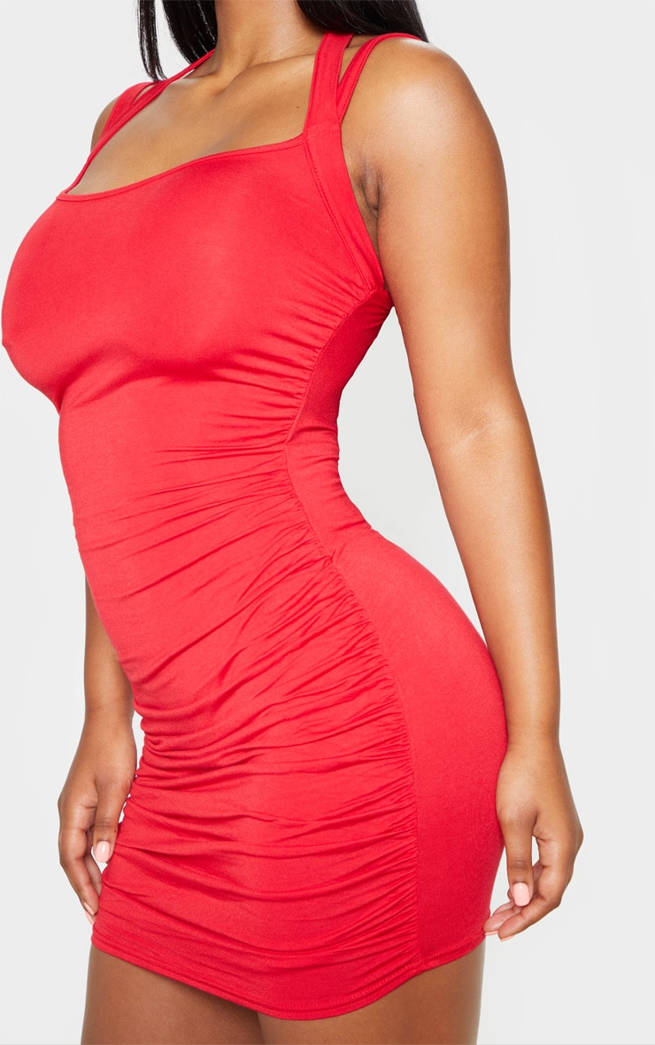 Red Multi Strap Sleeveless Ruched Bodycon Dress 5