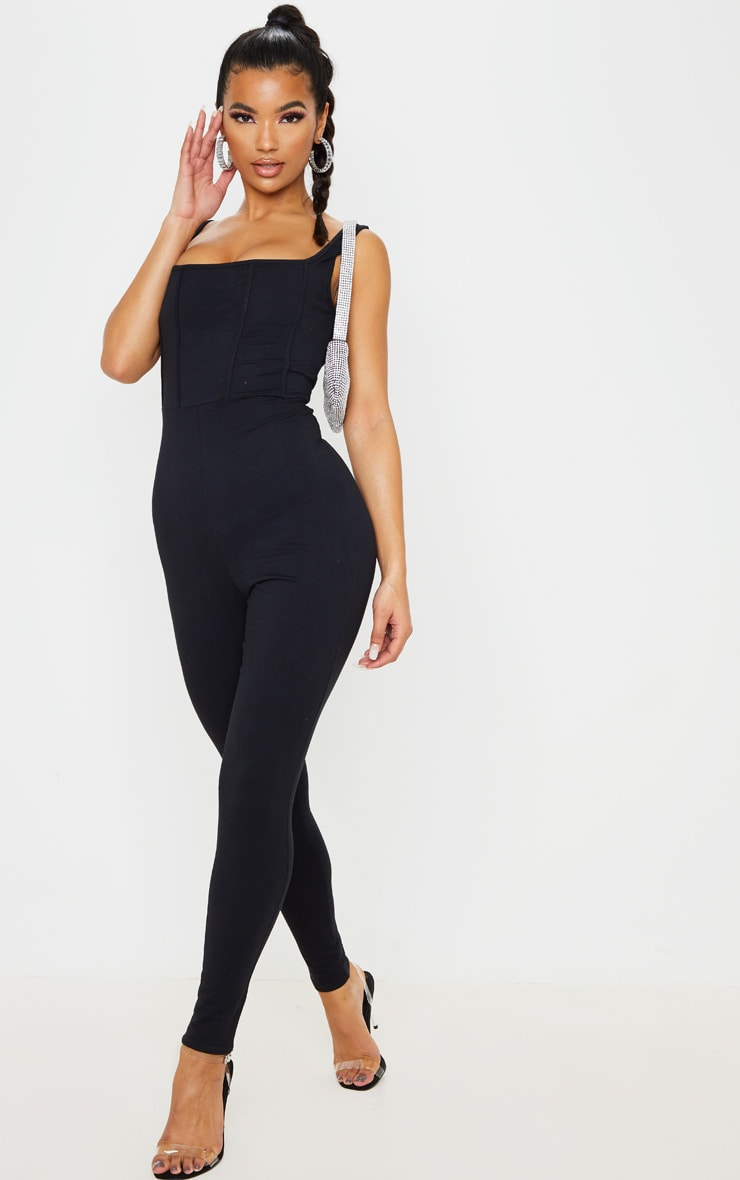 Black Binding Detail Square Neck Jumpsuit 4