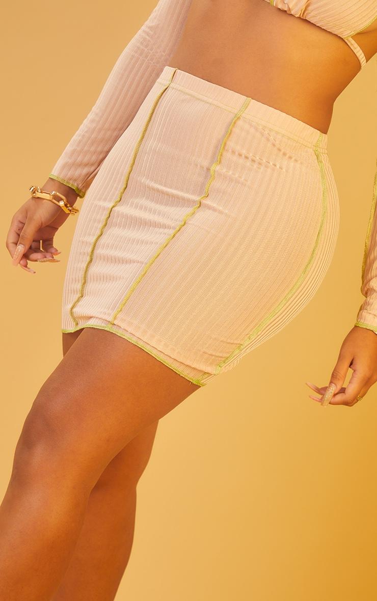 Shape Nude Rib Overlock Bodycon Skirt 5