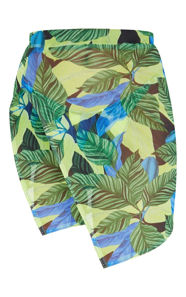 Green Leaf Mesh Side Split Mini Beach Skirt 6