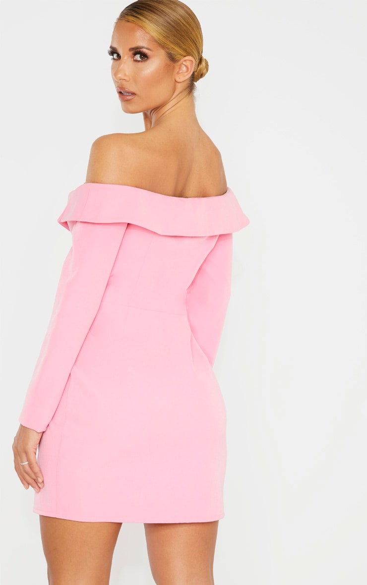 Pink Bardot Knot Detail Blazer Dress 2