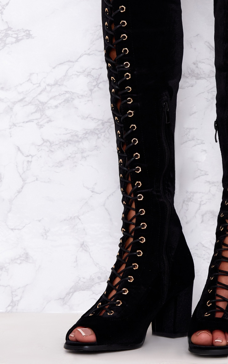 Black Velvet Lace Up Thigh High Boots  5
