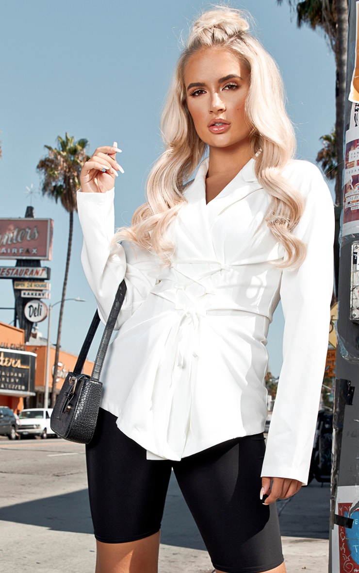 White Lace Up Corset Shirt 1