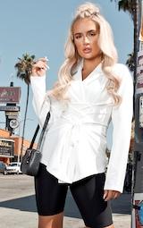 White Lace Up Corset Shirt 1