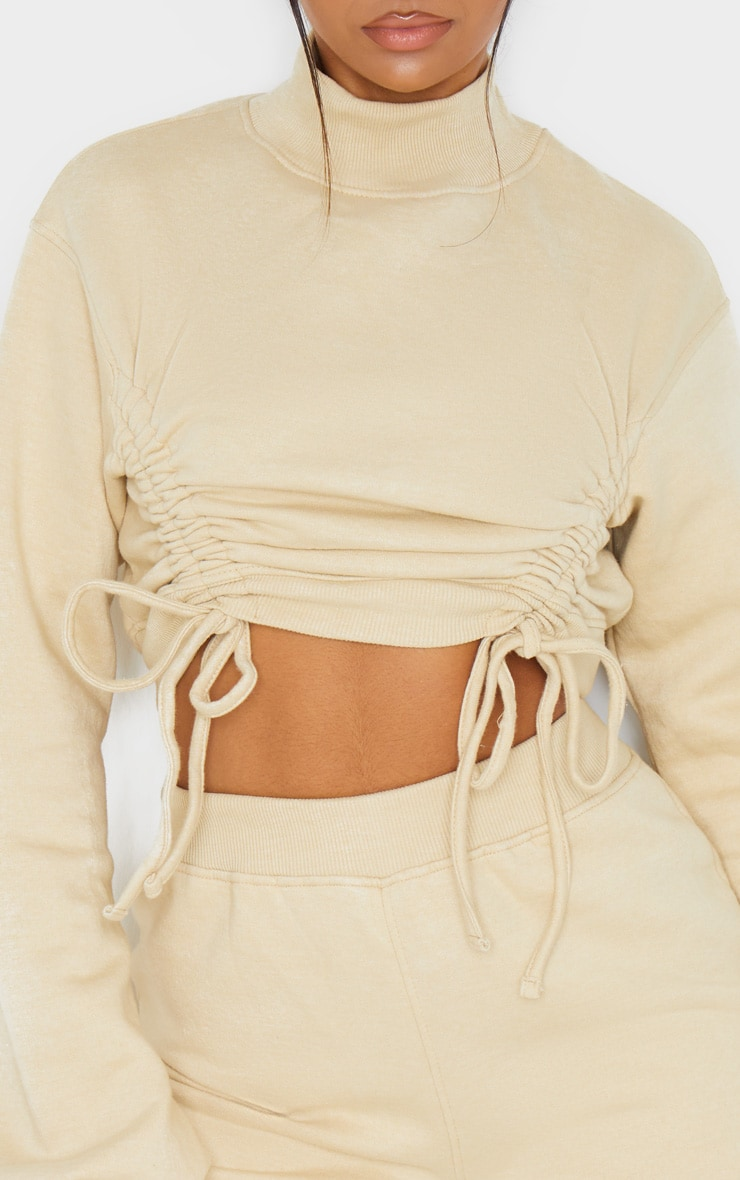 Stone Ruched Tie Front Crop Sweater 5