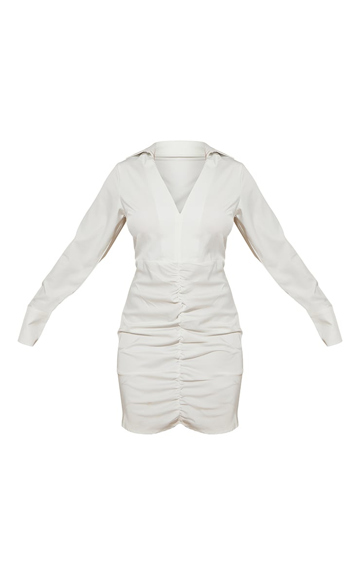 White Woven Long Sleeve Ruched Detail Shirt Dress 5