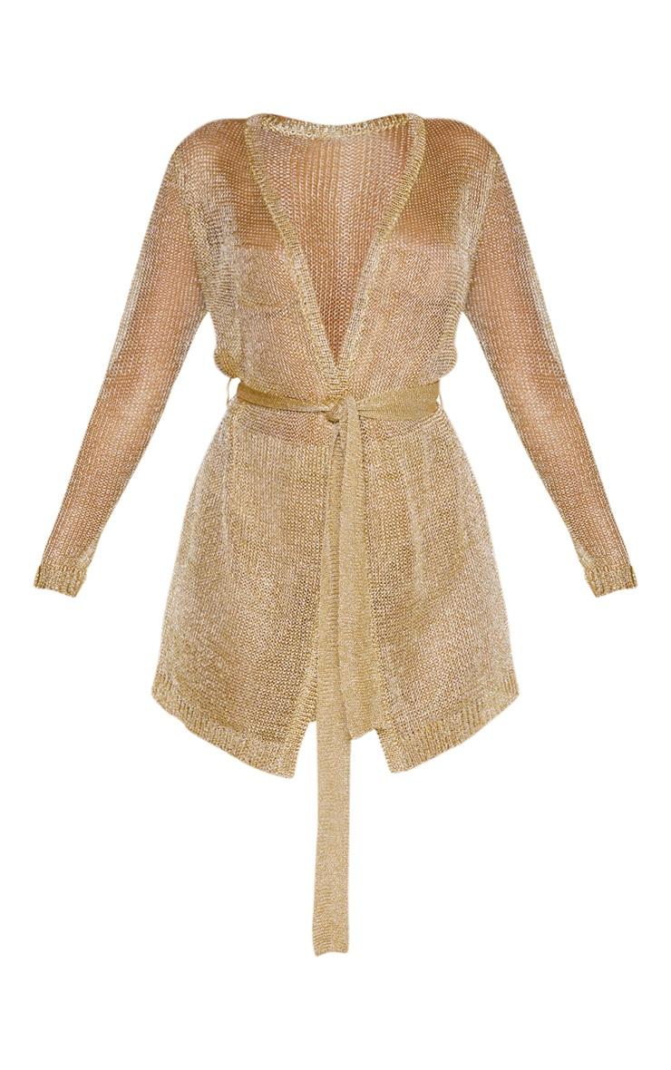 Gold Belted Metallic Cardigan 3