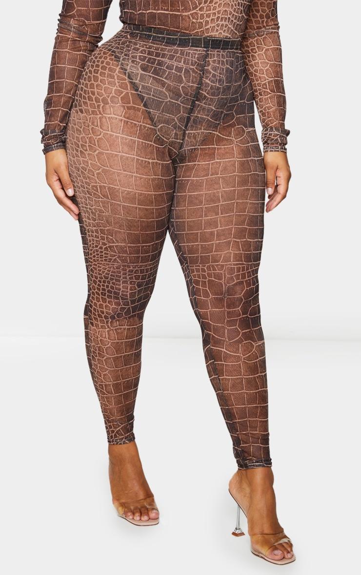 Plus Brown Croc Print Mesh Leggings 2