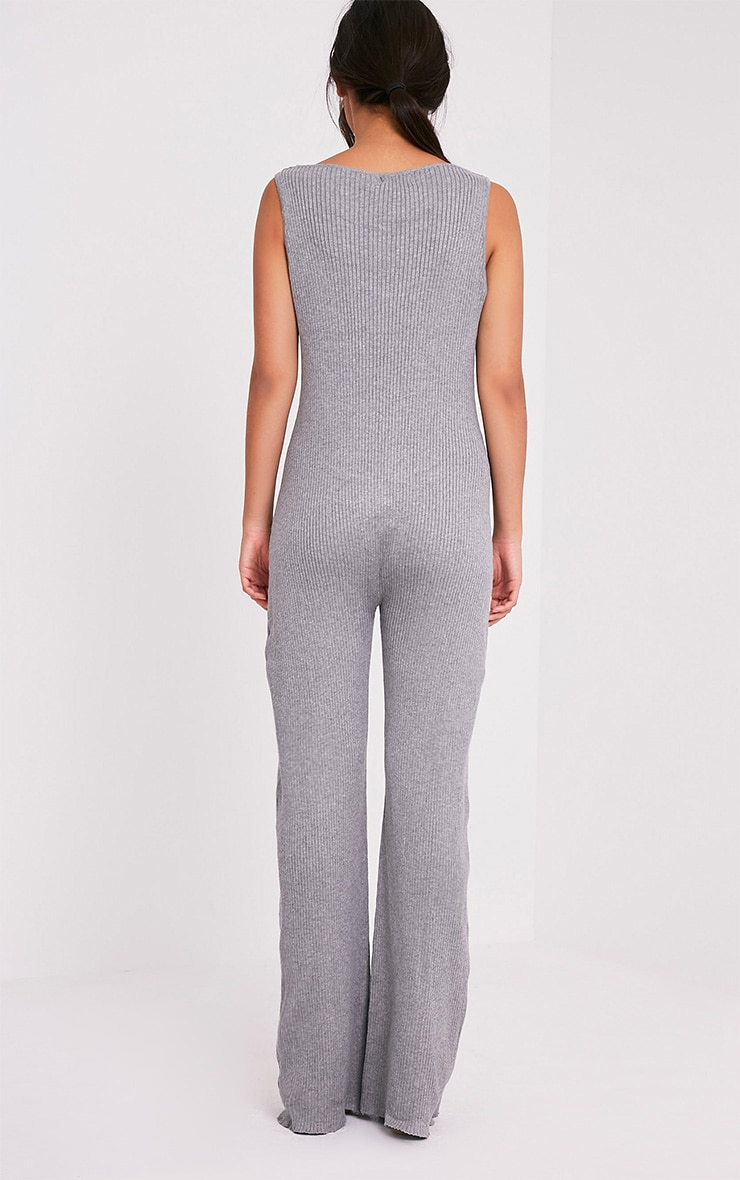 Kirstina Grey Ribbed Wide Leg Knitted Jumpsuit 2