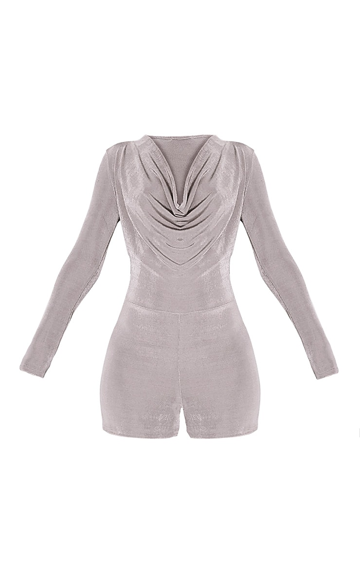 Veronia Silver Long Sleeved Cowl Neck Playsuit 3
