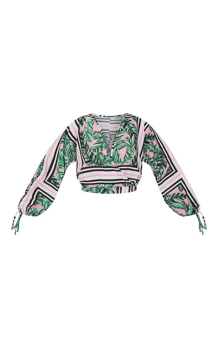 Pink Chiffon Palm Print Plunge Crop Blouse 3