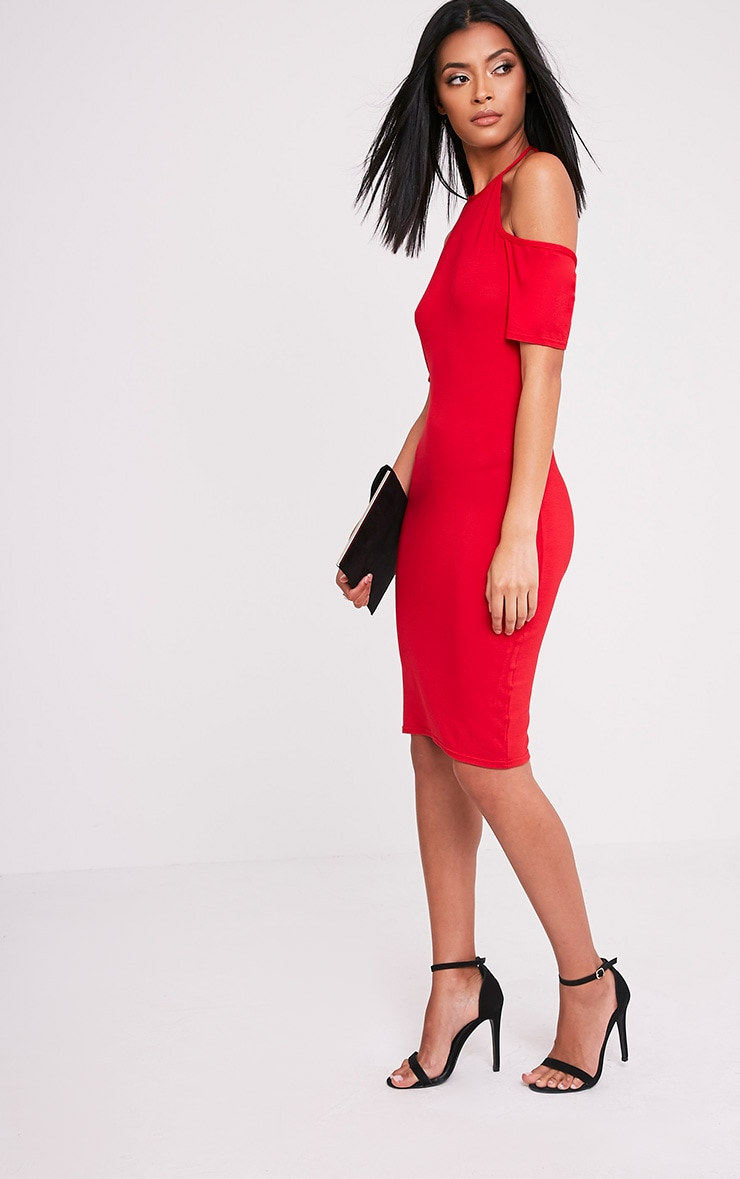 Amara Red Tie Neck Cold Shoulder Bodycon Dress 1