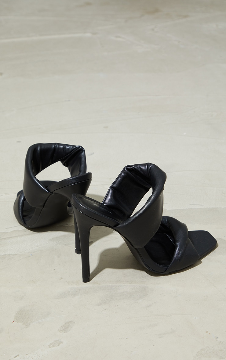 Black Square Toe Padded Twin Strap High Heel Mules 4
