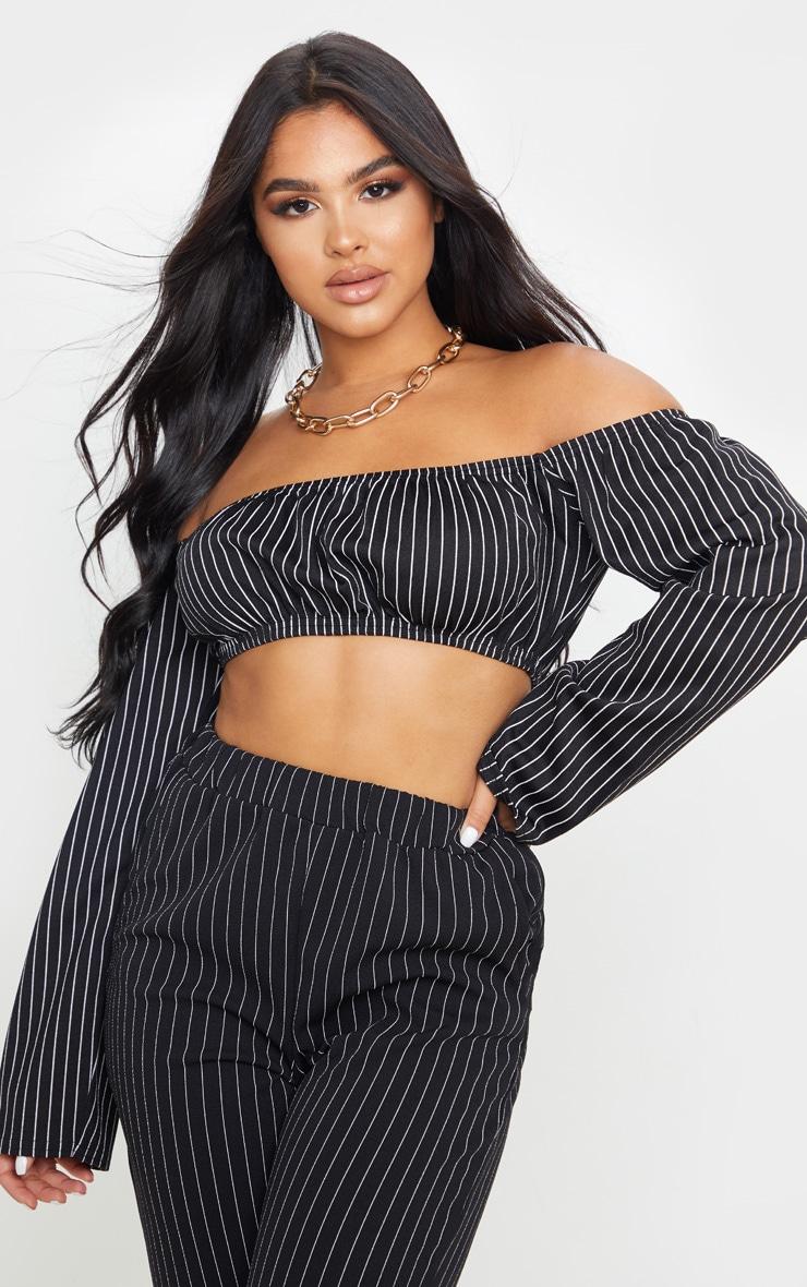 Petite Black Crop Pinstripe Long Sleeve Top 1