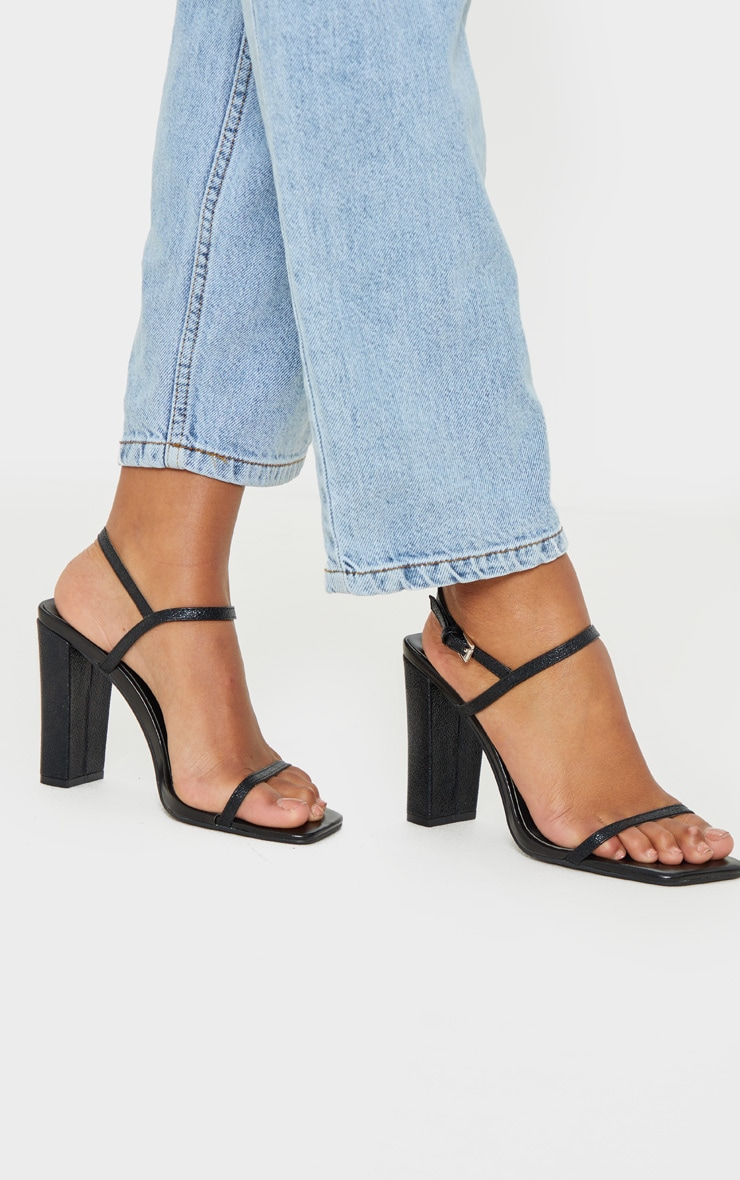 Black Block Heel Twin Strap Slingback Sandal