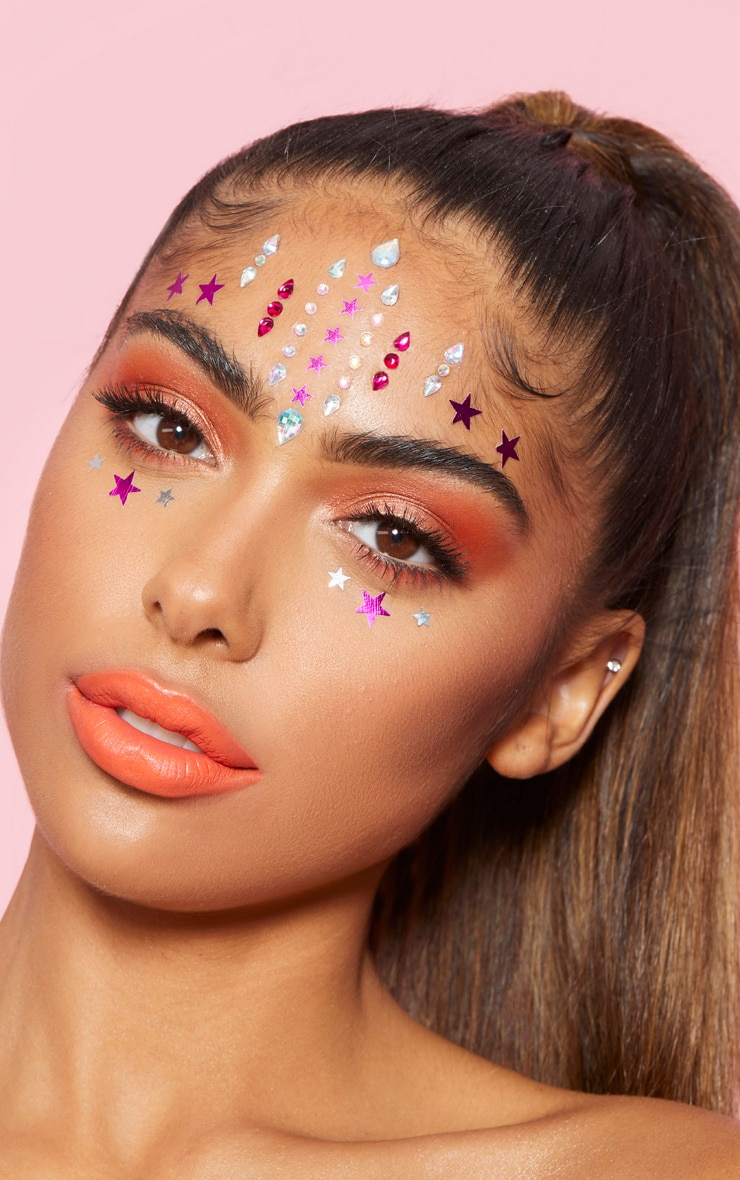 PRETTYLITTLETHING Pink Stars Face Jewels 1