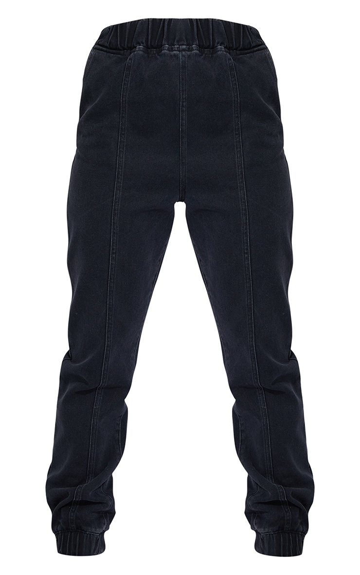Washed Black Elasticated Waist Jogger Jean 5