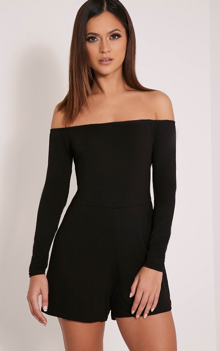 Basic Black  Bardot Jersey Playsuit 1