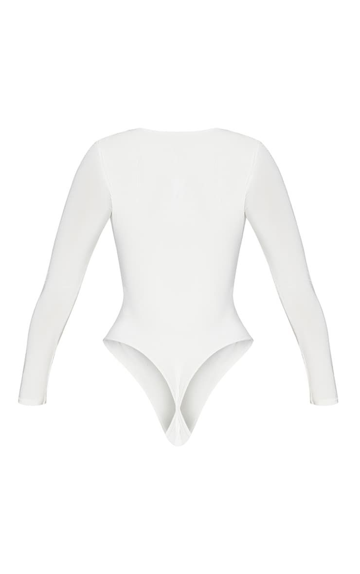 White Second Skin Square Neck Thong Bodysuit 4