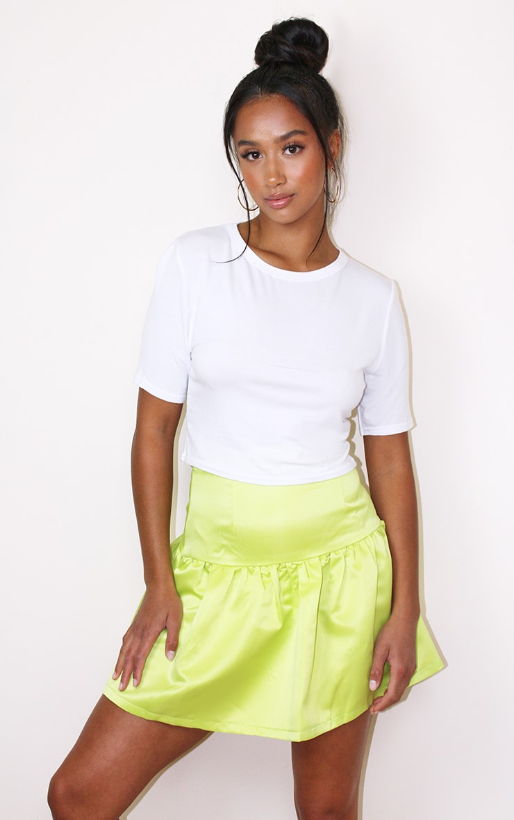 Petite Lime Satin Flippy Hem Mini Skirt 4