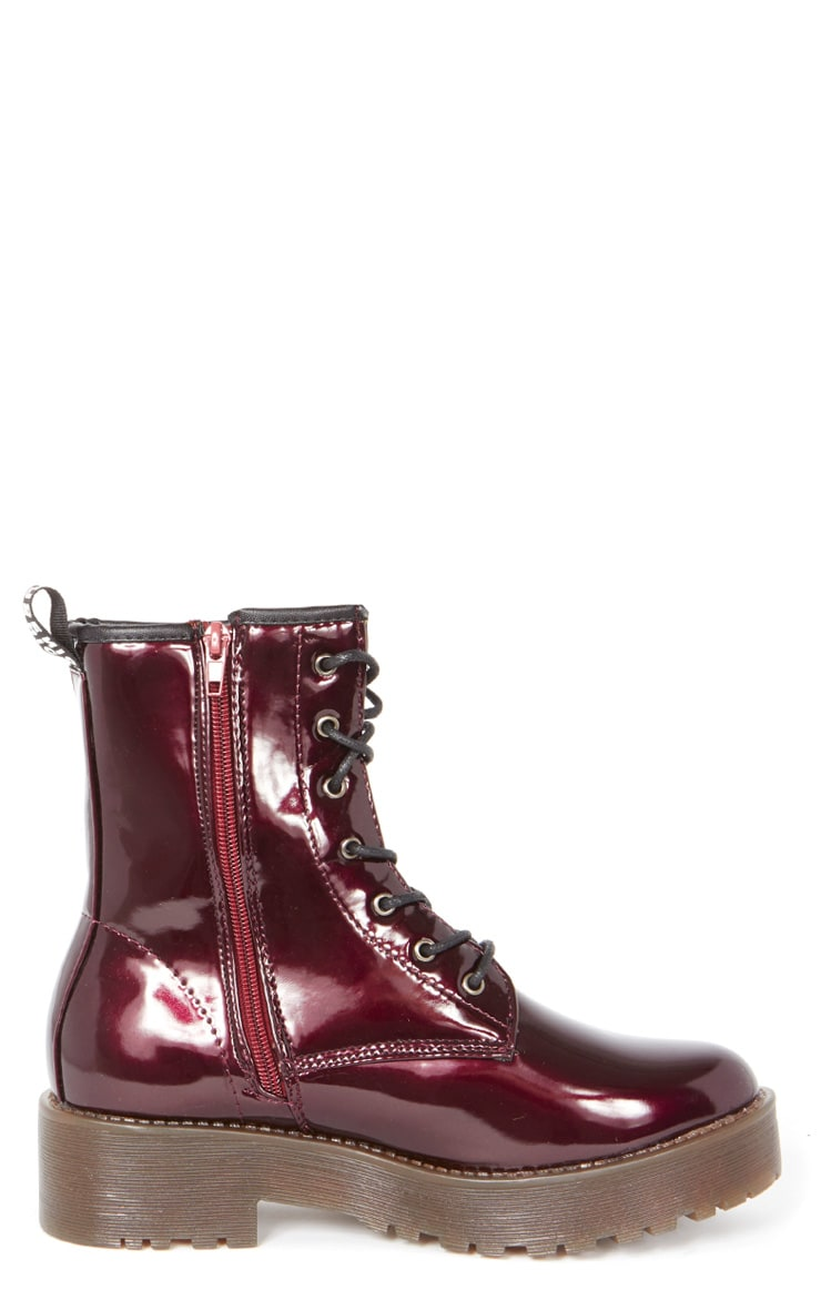 Kat Oxblood Patent Lace Up Boot  2