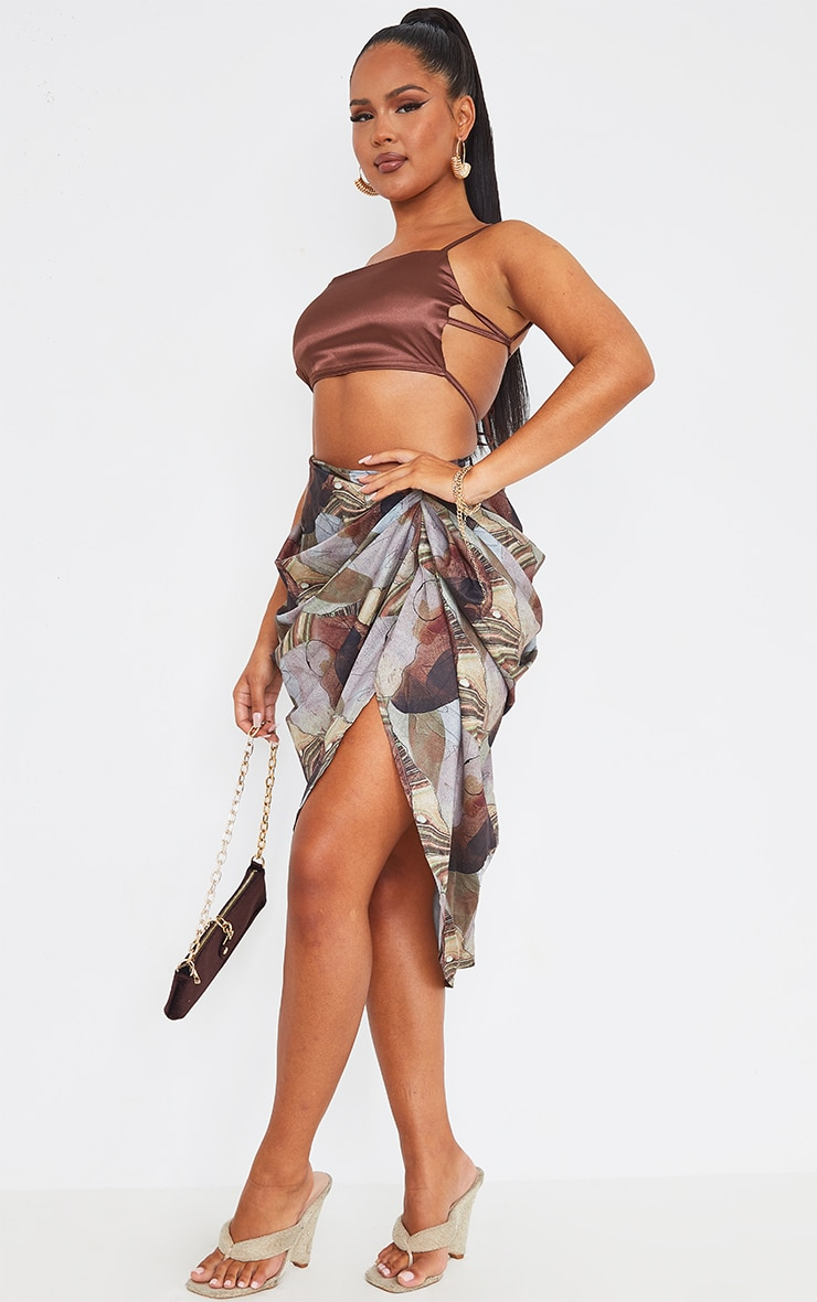 Sand Rust Abstract Print Ruched Midi Skirt 1